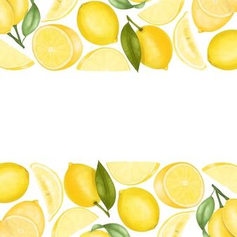 手描きのレモン、イラスト背景の境界線