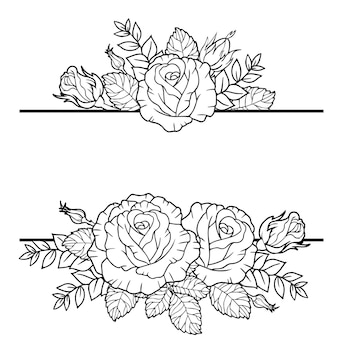 Borders of rose flowers branches and leaves