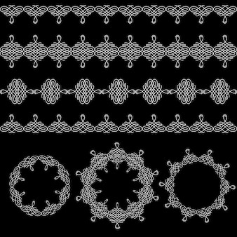 Borders, seamless pattern, and round frames set collection in calligraphic retro style isolated