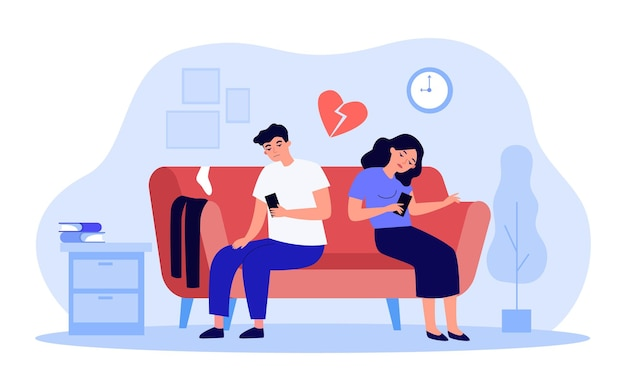 Bored couple sitting on sofa while looking at their phones. husband and wife tired of each other flat vector illustration. relationship, breakup concept for banner, website design or landing web page