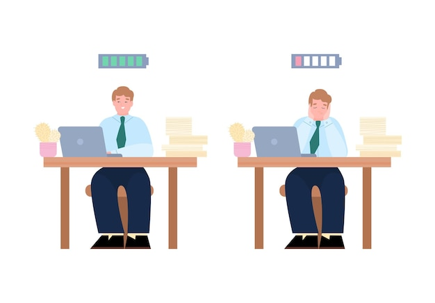 Bored and enthusiastic business people cartoon vector illustration isolated