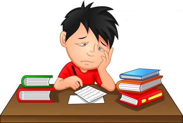 Bored kid doing homework or sitting on boring school lesson