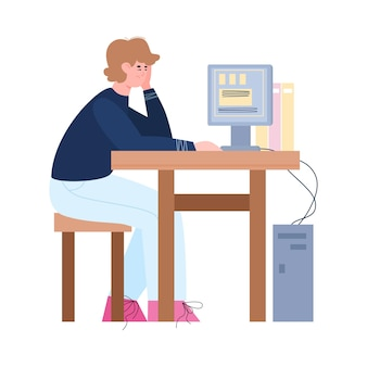 Bored lazy or tired office male worker working at his desk a illustration