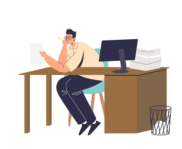 Скучно офисный работник, читающий документы с кучей деловых бумаг на офисном столе