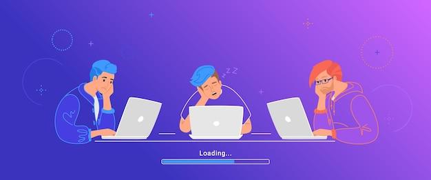 노트북과 함께 앉아서 자고 지루한 세 십대. 피곤한 학생들이 데이터 로드 또는 긴 버퍼화를 기다리는 동안 시간을 낭비하는 평면 벡터 그림. 업무용 책상에서 자고 있는 청년들