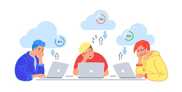 Bored three teenagers sitting with laptops and sleeping. flat vector illustration of tired students wasting time for cloud computing, data loading or slow buferization. young men sleeping at work desk