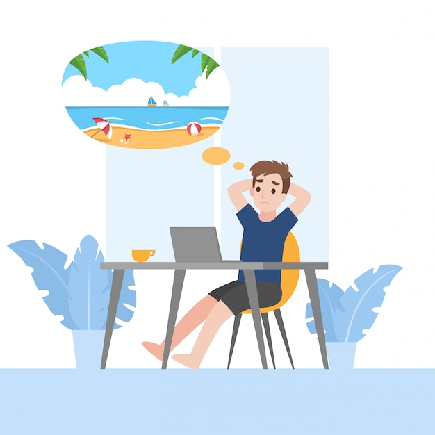 Bored young man at home want to travel. working from home
