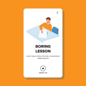 Boring lesson listen schoolboy in classroom vector. boring lesson listening boy, writing information in notebook with pen. character education and knowledge web flat cartoon illustration