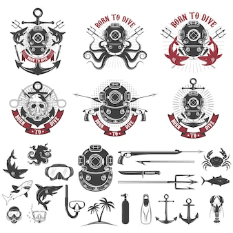 Born to dive. set of vintage diver helmets, diver label templates and design elements.