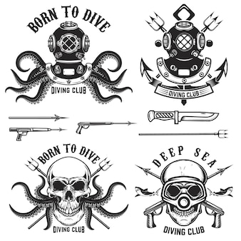 Born to dive. set of vintage diver helmets, diver label templates and  elements.