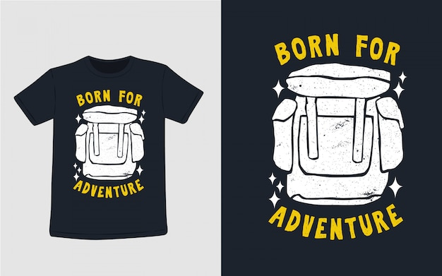 Рожденный для приключений рисованной типографии для дизайна футболки
