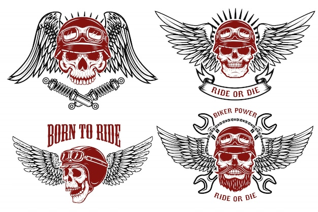 Born to ride. set of the emblems with racer skulls. biker club labels.  illustrations.