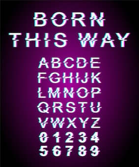 Born this way glitch font template. retro futuristic style alphabet set on violet background. capital letters, numbers and symbols. lgbt community typeface design with distortion effect