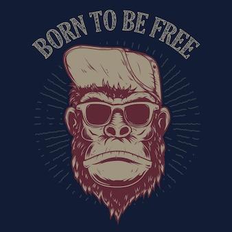 자유롭기 위해 태어났다. 그런 지 배경에 원숭이 그림입니다. 포스터, 티셔츠, 상징, 기호 디자인 요소입니다.