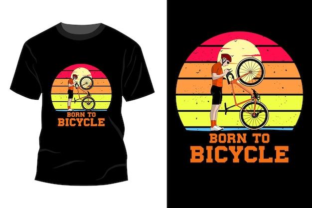 자전거 티셔츠 목업 디자인 빈티지 복고풍으로 태어났습니다.