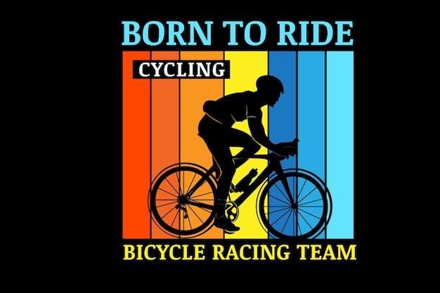 자전거 경주 팀 색상 주황색 노란색과 파란색을 타고 태어났습니다.