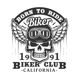 バイカークラブ、頭蓋骨、翼のバッジに乗るために生まれた