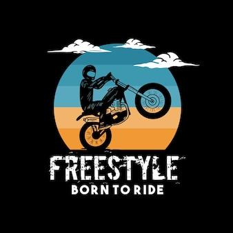 Рожденный для езды типографика для печати футболок с мотоциклом и ретро-стилем
