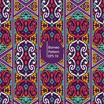 Borneo colorful vintage seamless patten background