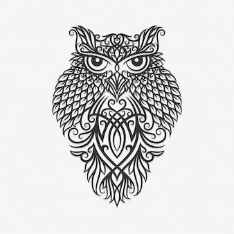 Борнео калимантан даяк орнамент сова иллюстрация