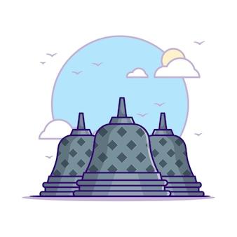 ボロブドゥール寺院のイラスト。ランドマークコンセプトホワイト分離。フラット漫画スタイル