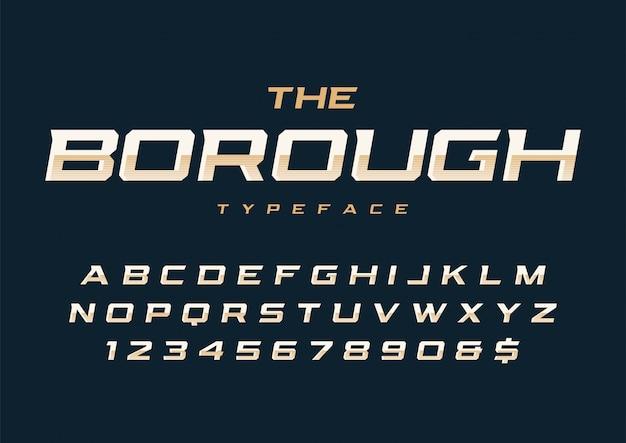 The borough trendy retro font with alphabet