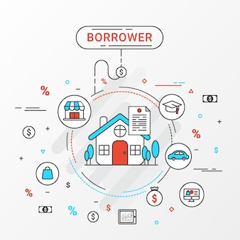 Borrower infographics design concept