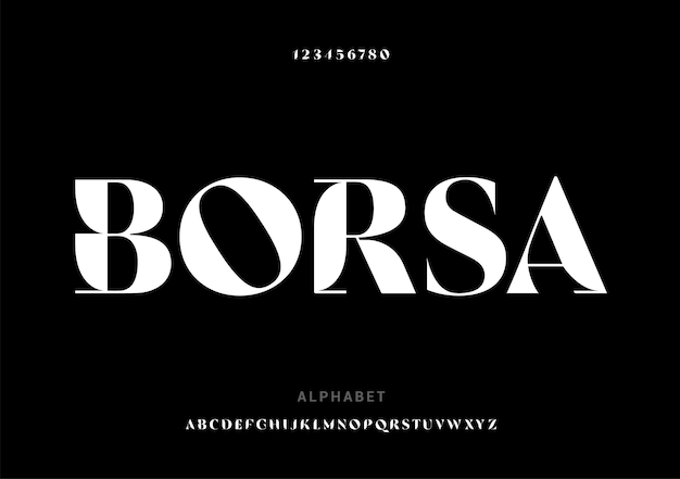 「ボルサ」エレガントなアルファベットのフォントと数字