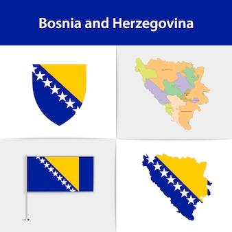 ボスニア・ヘルツェゴビナの旗の地図と紋章 Premiumベクター