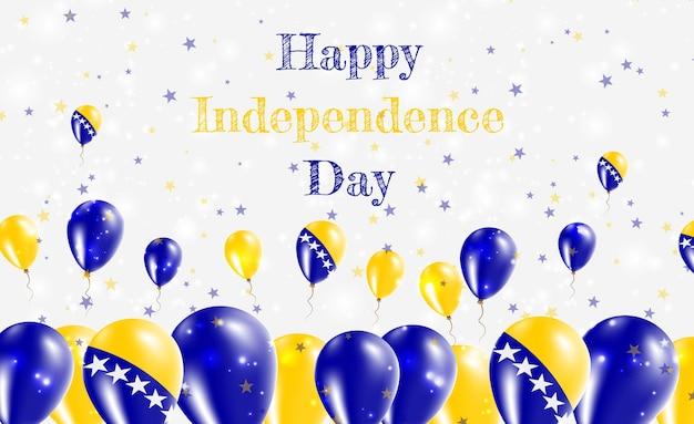 Патриотический дизайн дня независимости боснии и герцеговины. воздушные шары в национальных цветах боснии и герцеговины. поздравительная открытка вектора дня независимости сша.