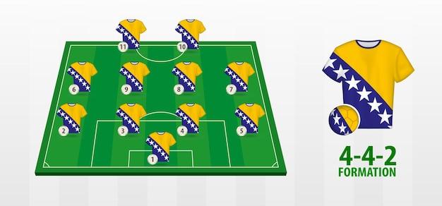 Сборная боснии и герцеговины по футболу на футбольном поле.