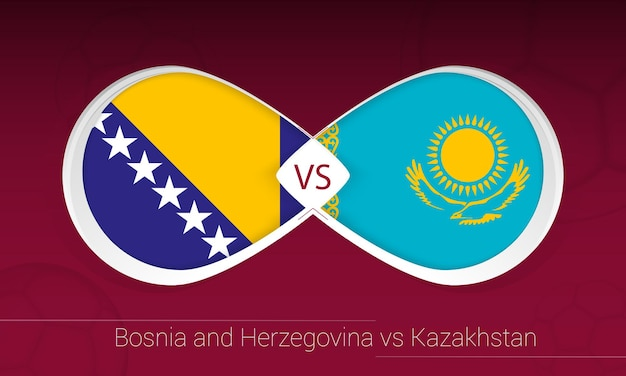 Босния и герцеговина против казахстана в футбольном соревновании, группа d. против значка на футбольном фоне.