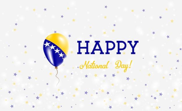 Национальный день боснии патриотический плакат. летающий резиновый шар в цветах боснийского, герцеговинского флага. национальный день боснии фон с воздушным шаром, конфетти, звездами, боке и блестками.