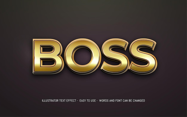 Boss 3d text editable style effect template