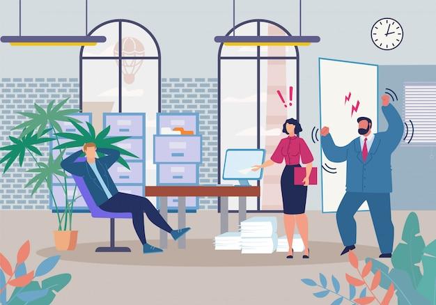 Босс и менеджер кричат в ленивом мультяшном работнике