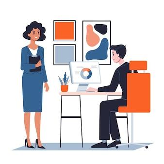 Босс и секретарь в офисе. идея работы и корпоративного бизнеса. исполнительный сидит за столом. иллюстрация в мультяшном стиле
