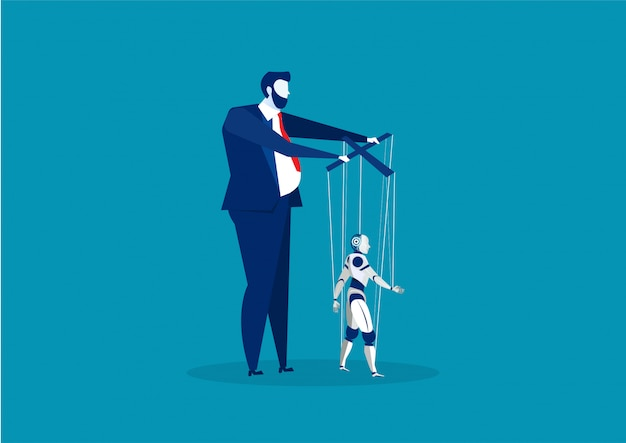 Boss or business man controlling puppet ai robot vector