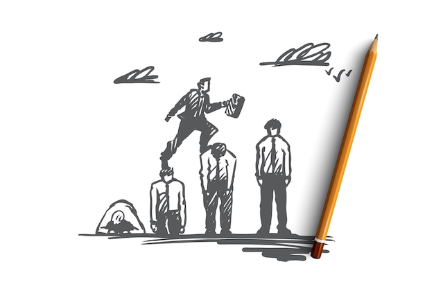 Boss, businessman, career, advantage concept. hand drawn leader successfully jumping over all obstacles concept sketch.