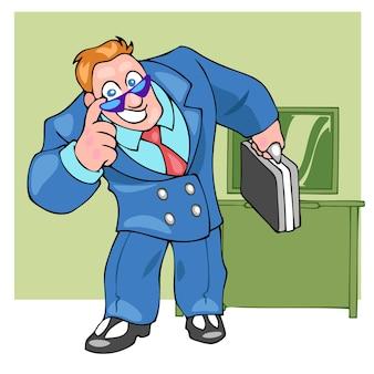 上司のビジネスマンは笑ってスーツケースを持ってカラーフラット漫画ポップアートレトロスタイル