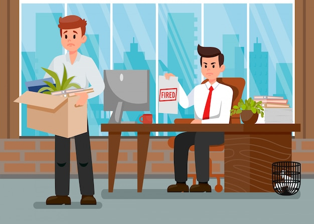 Boss dismissing employee color vector illustration