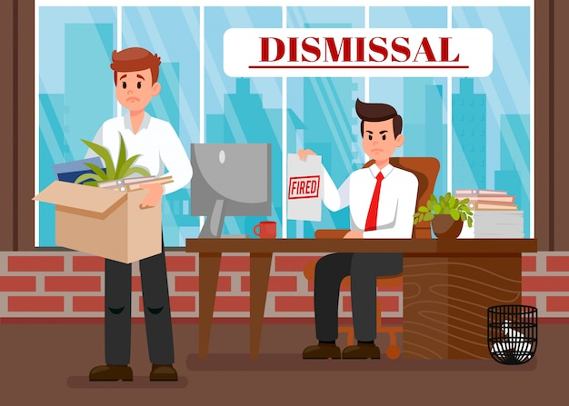 Boss dismissing employee flat vector illustration