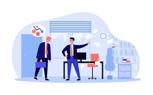 Босс недоволен работой сотрудников. плоские векторные иллюстрации. разочарованный сотрудник думает о неудаче, в то время как его босс кричит на него в офисе. работа, бизнес, крайний срок, конфликт, концепция отказа