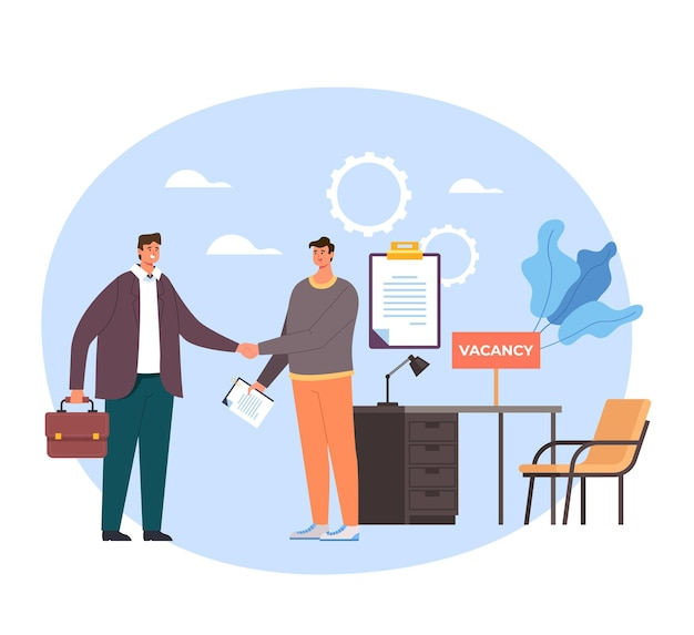 Boss and employee worker characters shaking hands. head hunting recruitment concept.