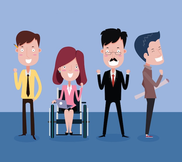 Boss, female and male employees teamwork business concept. vector cartoon
