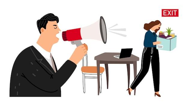 Босс увольняет сотрудника. увольнение, грустная девушка с кассой покидает офис. злой босс и работник иллюстрации