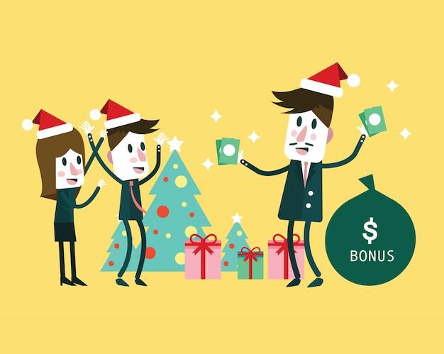 ボスは大きなボーナスを与える。クリスマスと新年のコンセプト。フラットなキャラクターデザイン。ベクトルイラスト