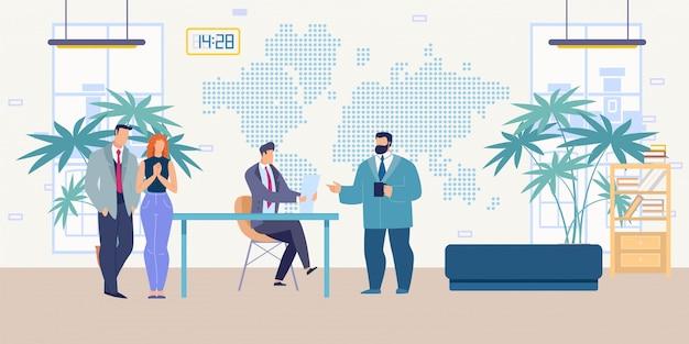 Boss hiring new employees flat vector concept
