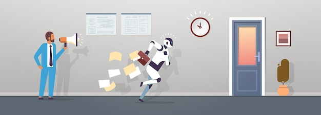Boss human hold megaphone modern robot running with falling papers from briefcase to door