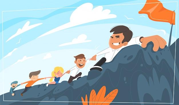 Boss leads office staff uphill