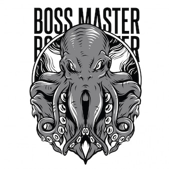 Босс мастер черно-белая иллюстрация